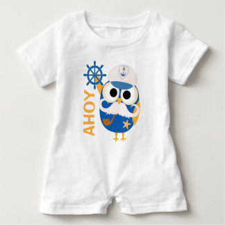 Nautical Owl with Ships Wheel Baby Bodysuit