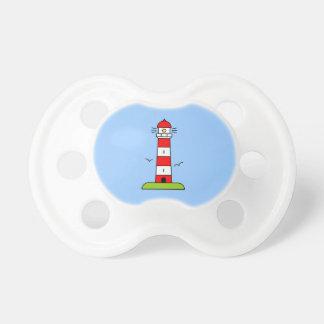 Nautical pacifiers | striped lighthouse cartoon