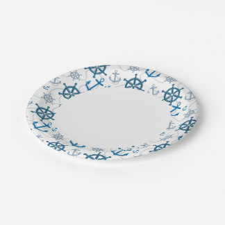 Nautical pattern 7 inch paper plate