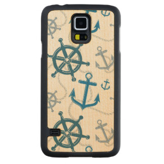 Nautical pattern carved maple galaxy s5 case
