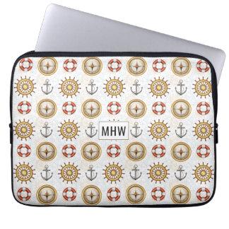 Nautical Pattern custom monogram laptop sleeves