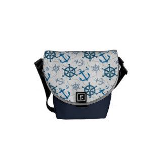 Nautical pattern messenger bags