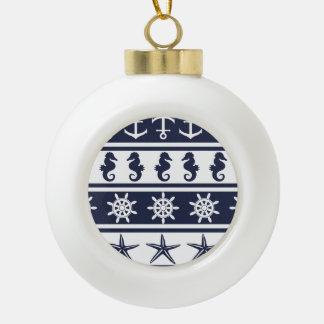 Nautical pattern on custom background color ceramic ball decoration
