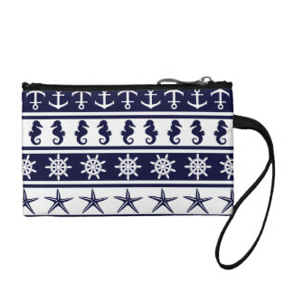 Nautical pattern on custom background color coin purse