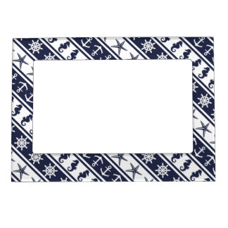 Nautical pattern on custom background color frame magnets