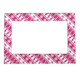 Nautical pattern on custom background color magnetic picture frame