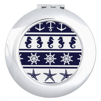 Nautical pattern on custom background color makeup mirrors