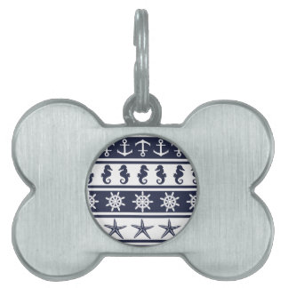 Nautical pattern on custom background color pet name tags