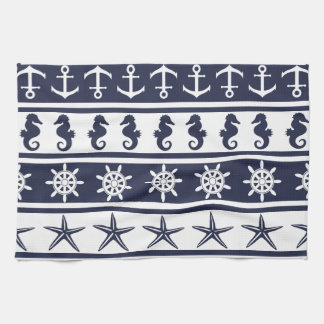 Nautical pattern on custom background color towel