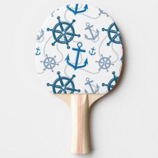 Nautical pattern ping pong paddle
