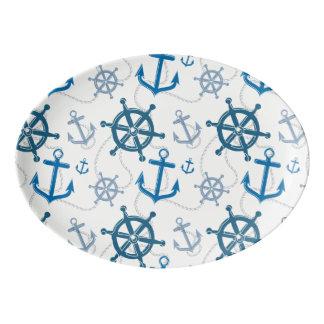 Nautical pattern porcelain serving platter