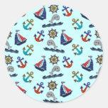 Nautical Pattern Round Sticker