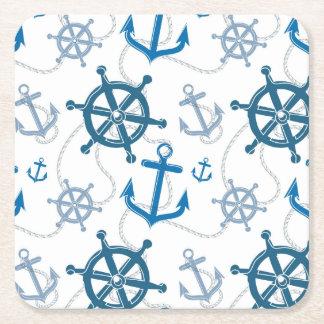 Nautical pattern square paper coaster