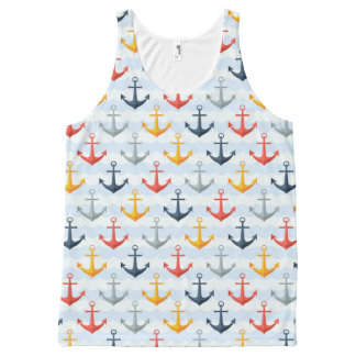 Nautical Pattern with Anchors All-Over Print Tank Top