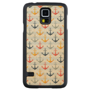 Nautical Pattern with Anchors Carved Maple Galaxy S5 Case