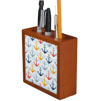 Nautical Pattern with Anchors Desk Organiser