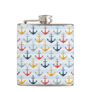 Nautical Pattern with Anchors Hip Flask