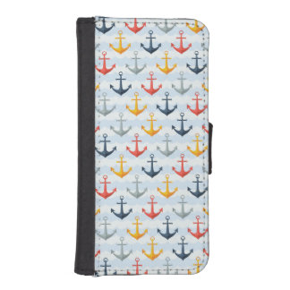 Nautical Pattern with Anchors iPhone SE/5/5s Wallet Case