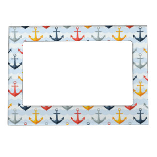 Nautical Pattern with Anchors Magnetic Picture Frame