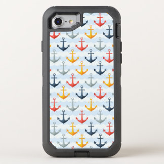 Nautical Pattern with Anchors OtterBox Defender iPhone 8/7 Case