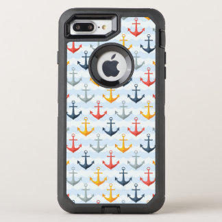 Nautical Pattern with Anchors OtterBox Defender iPhone 8 Plus/7 Plus Case