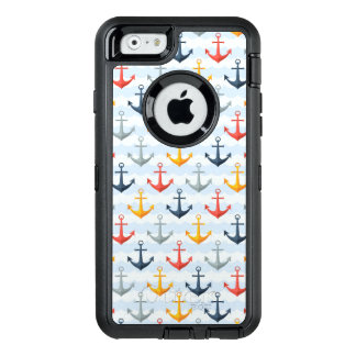 Nautical Pattern with Anchors OtterBox Defender iPhone Case