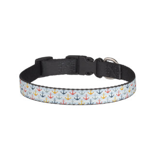 Nautical Pattern with Anchors Pet Collar