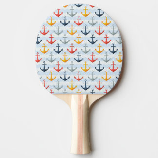 Nautical Pattern with Anchors Ping Pong Paddle