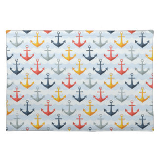 Nautical Pattern with Anchors Placemat