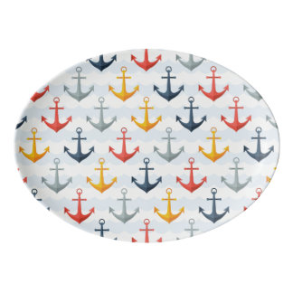 Nautical Pattern with Anchors Porcelain Serving Platter