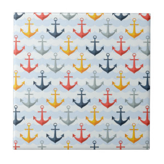Nautical Pattern with Anchors Small Square Tile