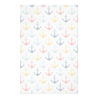 Nautical Pattern with Anchors Stationery
