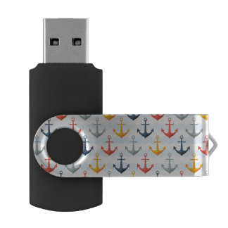 Nautical Pattern with Anchors USB Flash Drive
