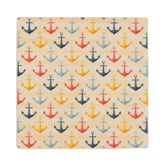 Nautical Pattern with Anchors Wood Coaster