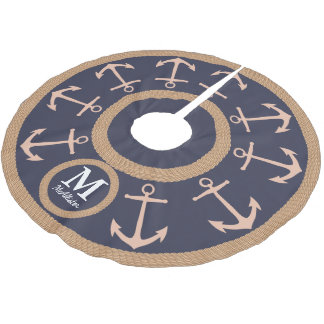 Nautical Peach Anchors on Navy Blue - Family Name Brushed Polyester Tree Skirt