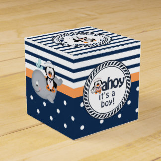 Nautical Penguin and Whale Baby Shower Party Favour Box