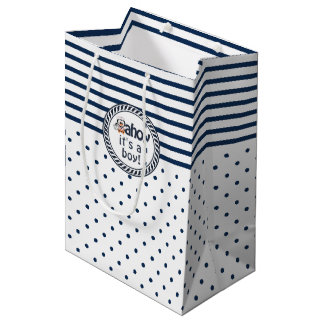 Nautical Penguin Baby Shower Medium Gift Bag