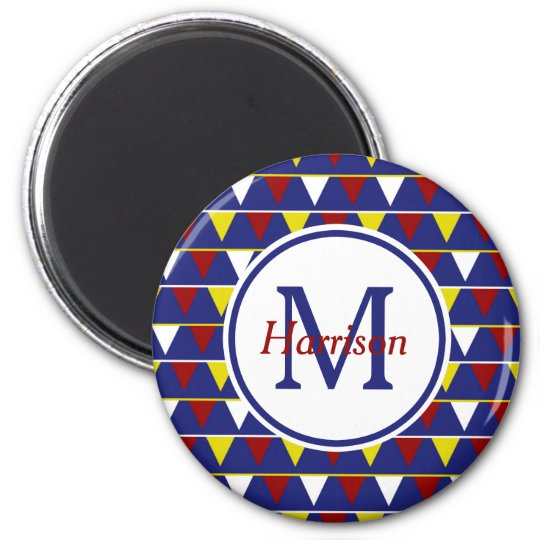 Nautical Pennants on Blue Monogram 6 Cm Round Magnet