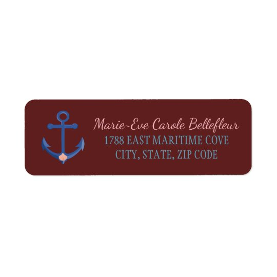Nautical Personalise Anchor Destination Wedding Return Address Label