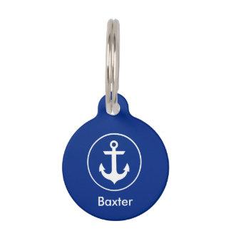 Nautical Personalised Dog Tag-Phone on Back Blue Pet ID Tag