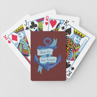 Nautical Personalize Anchor Destination Wedding Bicycle Playing Cards