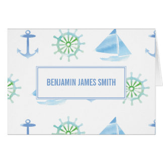 Nautical Personalized Watercolor Blue Stationery Card