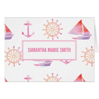 Nautical Personalized Watercolor Pink Stationery Card
