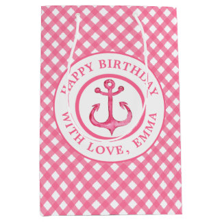 Nautical Pink Anchor Plaid Birthday Gift Bag