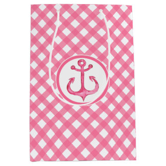 Nautical Pink Anchor Plaid Gift Bag