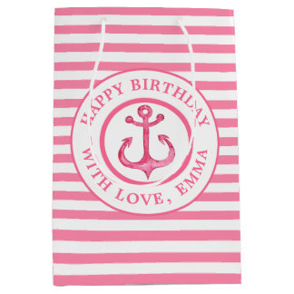 Nautical Pink Anchor Striped Birthday Gift Bag