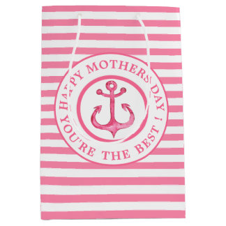 Nautical Pink Anchor Striped Mother's Day Gift Bag