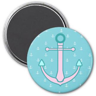 Nautical Pink and Blue Aqua Anchors  Magnet