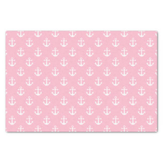 Nautical Pink and White Anchor Pattern Tissue Paper