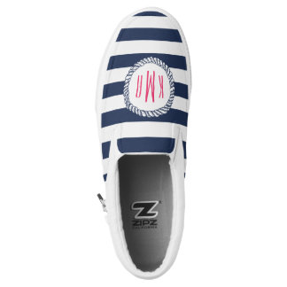 Nautical Pink & Navy Preppy Stripe Rope Monogram Printed Shoes